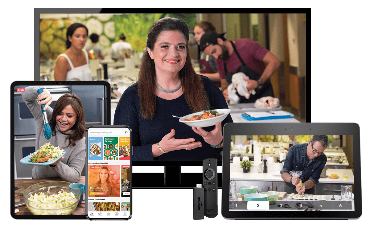 Group of devices featuring Food Network Kitchen